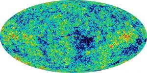 Imagem WMAP (Wilkinson Microwave Anisotropy Probe) da anisotropia da radiação cósmica de fundo em micro-ondas