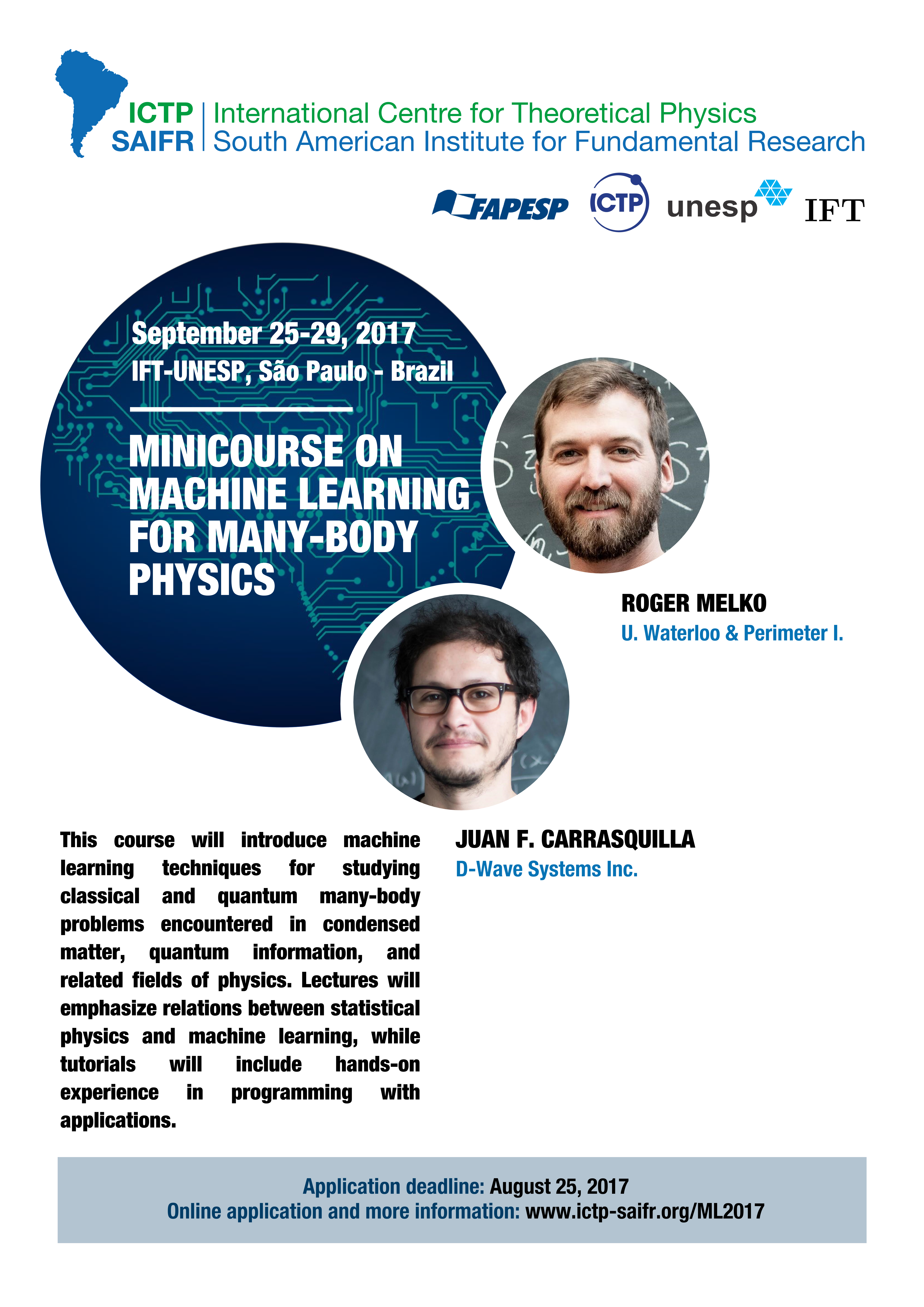 ICTP – SAIFR » Minicourse on Machine Learning for Many-Body