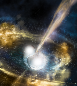 Ilustração representando a colisão das duas estrelas de nêutron (Fonte: LIGO)